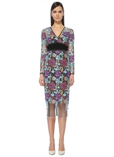 Diane Von Furstenberg V Yaka Çiçekli Midi Elbise Renkli